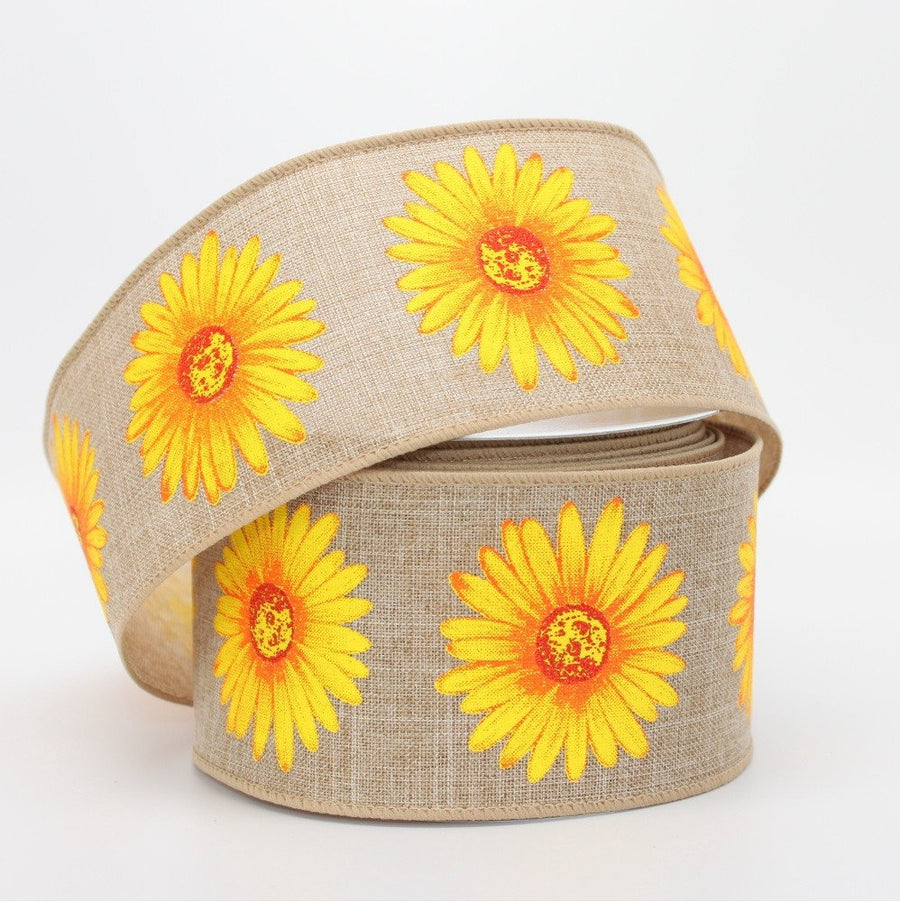 10 yards Natural Linen Yellow Sunflower Wire Edge Ribbon