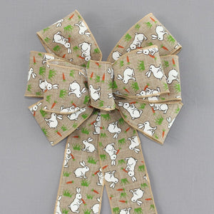 White Bunny Natural Linen Easter Wreath Bow