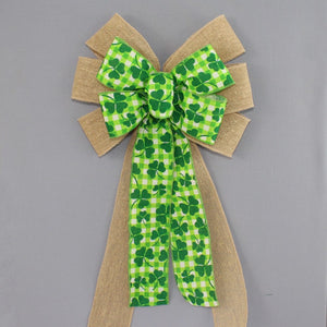 Shamrock Plaid Burlap St. Patrick's Day Wreath Bow
