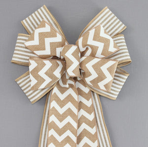 Chevron Natural White Stripe Wreath Bow