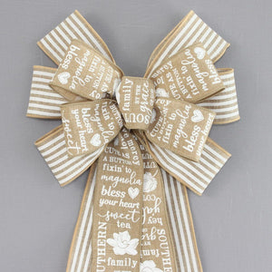 Southern Charm White Stripe Wreath Bow