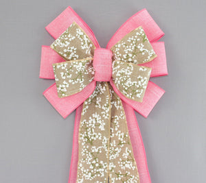 Pink Rustic Natural Baby's Breath Wreath Bow