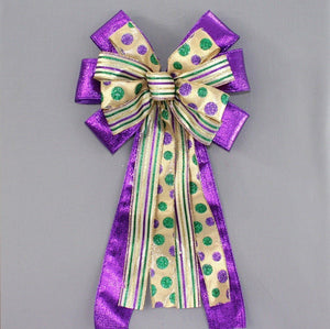 Purple Metallic Stripe Dot Mardi Gras Bow