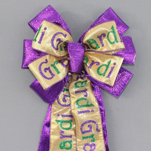 Purple Metallic Mardi Gras Script Wreath Bow