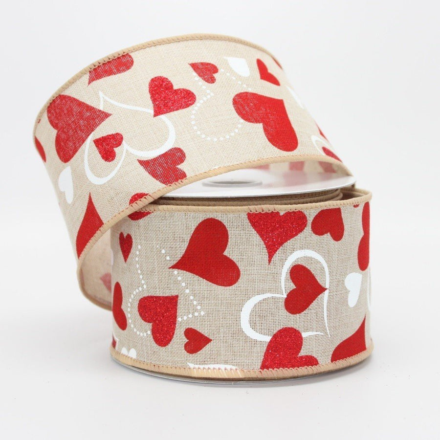 10 yards Natural Canvas Red Heart Valentine's Day Wire Edge Ribbon