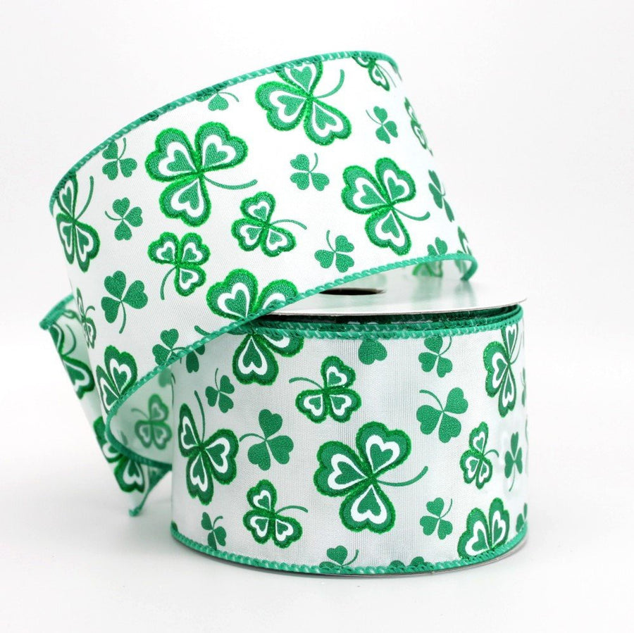 10 yards White Satin Green Sparkle Clover St. Patrick's Day Wire Edge Ribbon