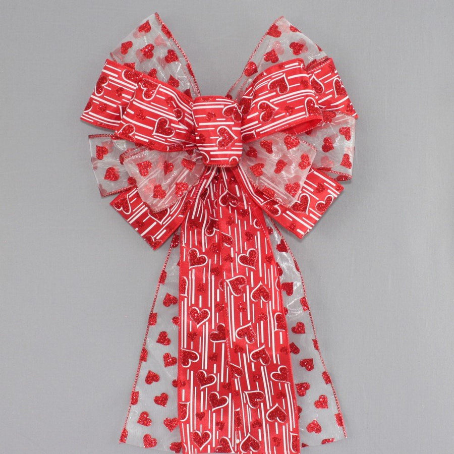 Red Sparkle Hearts Sheer Valentine's Day Bow