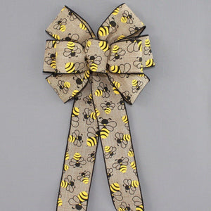 Bumble Bees Natural Linen Wreath Bow