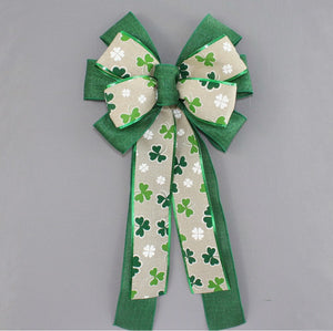 Rustic Shamrock St. Patrick's Day Wreath Bow