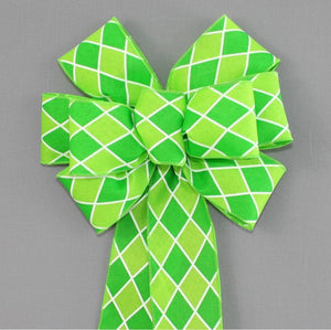 Green Lime Harlequin Wreath Bow