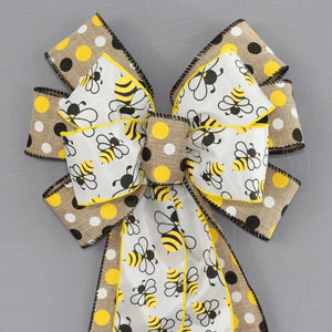 Bumble Bees Natural Polka Dot Wreath Bow