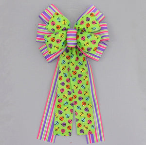Festive Ladybugs Stripe Spring Wreath Bow