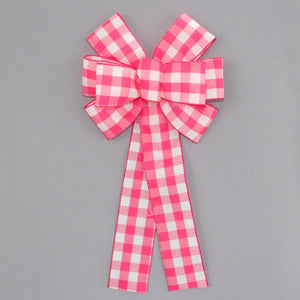 Hot Pink White Buffalo Plaid Spring Wreath Bow