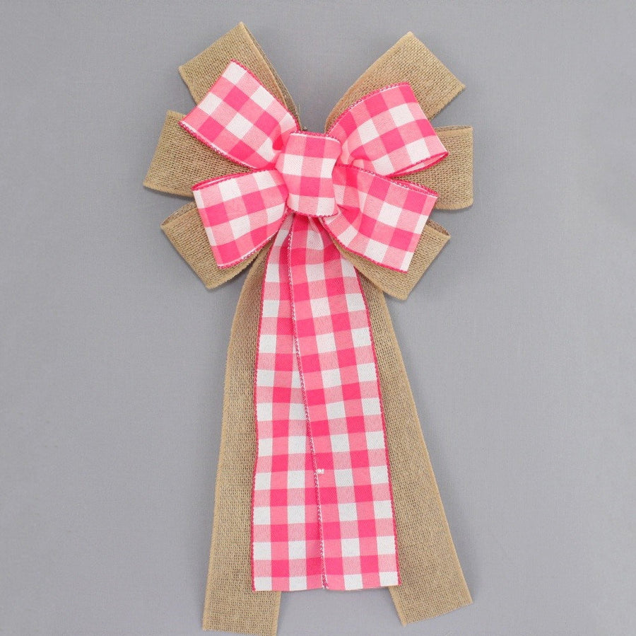 Hot Pink White Buffalo Plaid Burlap Wreath Bow