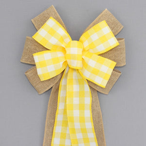 Yellow White Buffalo Plaid Burlap Wreath Bow