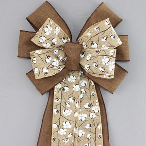 Brown Rustic Natural Cotton Boll Wreath Bow