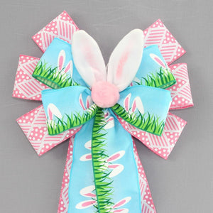 Peeking Bunny Ears Easter Wreath Bow