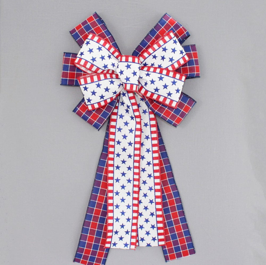 Patriotic Plaid Stars Stripes Wreath Bow