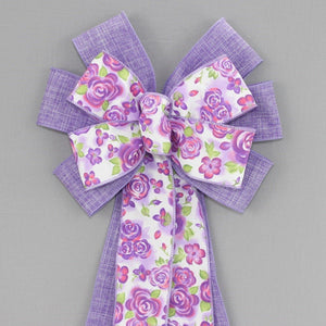 Watercolor Floral Lavender Spring Wreath Bow