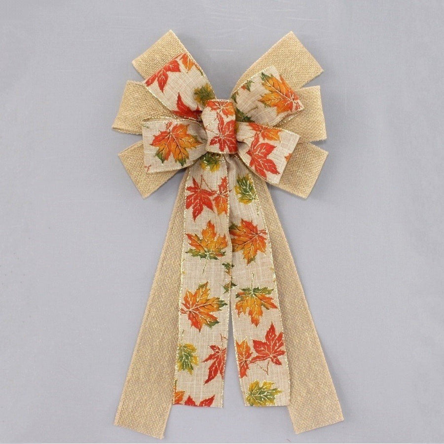Fall Rustic Maple Leaves Burlap Wreath Bow