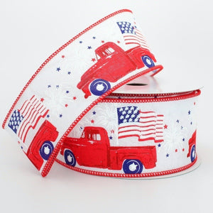 10 yards Patriotic Fireworks Flag Red Truck Wire Edge Ribbon