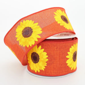 10 yards Burnt Orange Yellow Sunflower Wire Edge Ribbon
