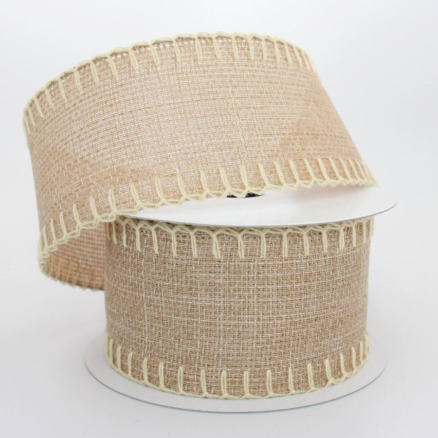 10 yards Faux Burlap with Cream Blanket Stitch Wire Edge Ribbon