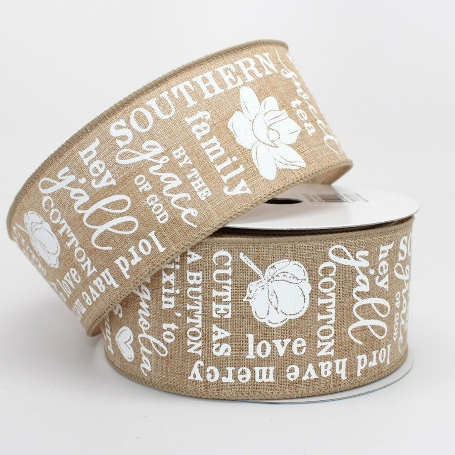 10 yards Southern Charm Natural Wire Edge Ribbon