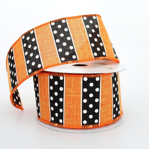 10 yards Dotted Stripe Halloween Wire Edge Ribbon