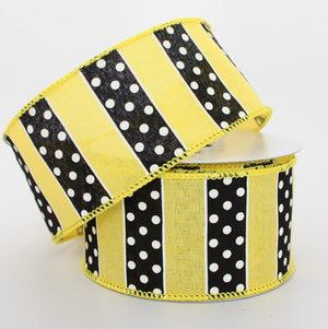 10 yards Black Dotted Yellow Stripe Wire Edge Ribbon