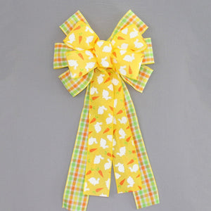 Yellow Bunny Plaid Easter Wreath Bow