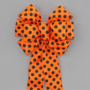 Orange Black Polka Dot Halloween Wreath Bow