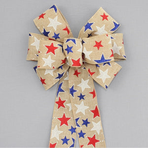 Patriotic Metallic Stars Rustic Wreath Bow