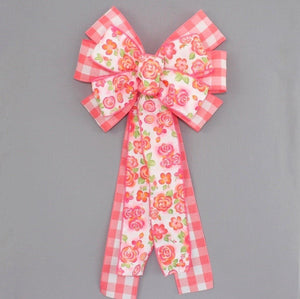 Coral Floral Buffalo Plaid Spring Wreath Bow