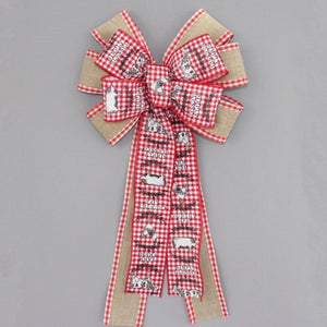 Farmhouse Animals Country Gingham Rustic Wreath Bow