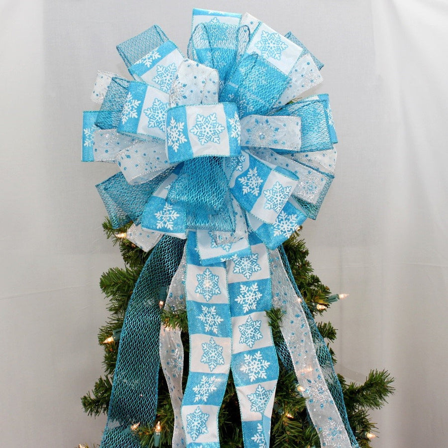Turquoise White Sparkle Snowflake Christmas Tree Topper Bow