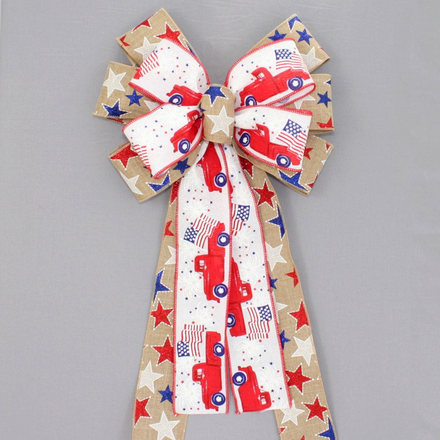 Patriotic Red Truck Stars Wreath Bow