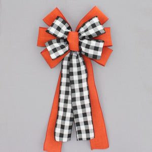 Black White Buffalo Plaid Burnt Orange Fall Wreath Bow