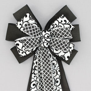 Black White Marrakesh Swirl Wreath Bow