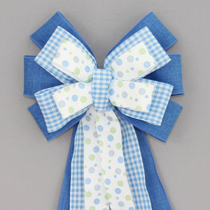 Royal Blue Gingham Dot Wreath Bow