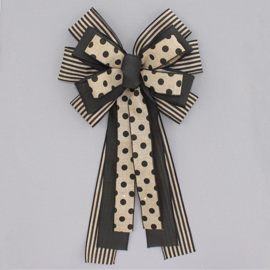 Black Natural Stripe Dot Wreath Bow