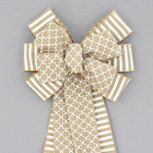 Marrakesh Cabana Stripe Natural Wreath Bow