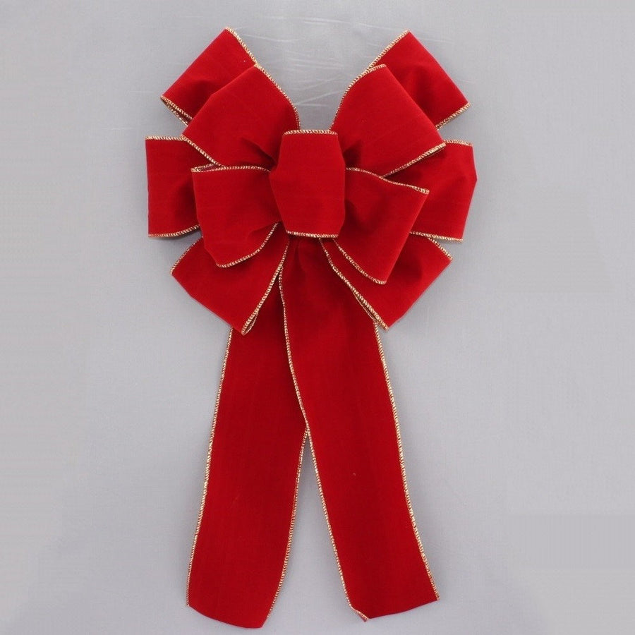 Brick Red Gold Edge Velvet Wire Edge Christmas Bow