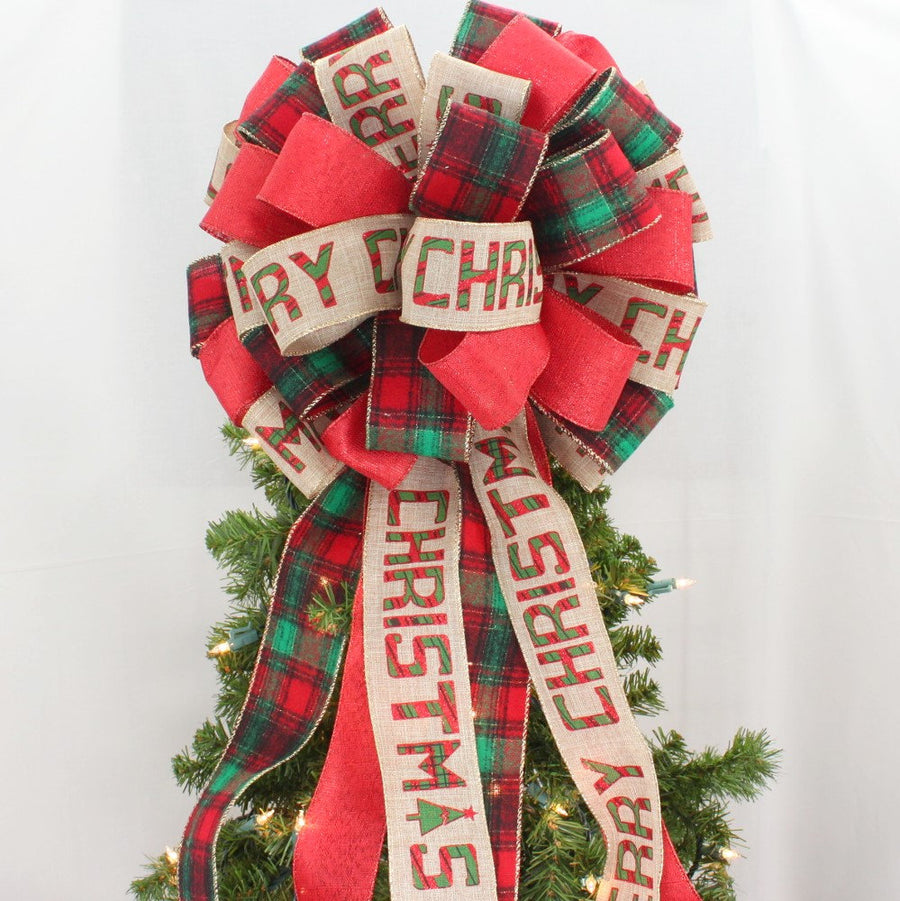 Rustic Script Flannel Plaid Christmas Tree Topper Bow