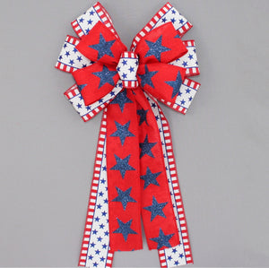 Patriotic Metallic Stars Wreath Bow