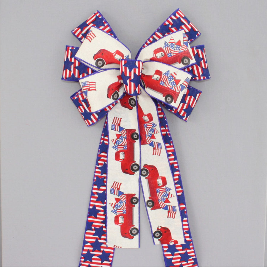 Patriotic Red Truck Fireworks Wreath Bow