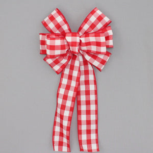 Red White Buffalo Plaid Christmas Bow