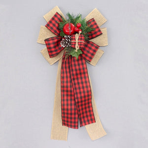 Buffalo Check Burlap Pinecone Christmas Wreath Bow