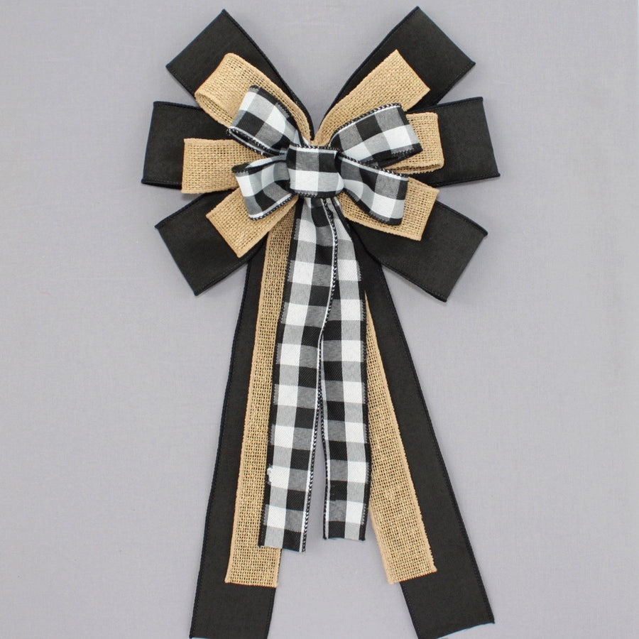 Black White Buffalo Plaid Burlap Wreath Bow