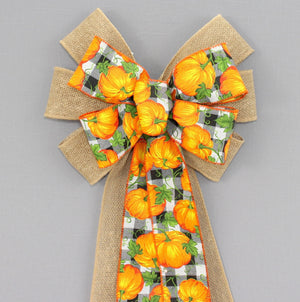 Pumpkin Buffalo Plaid Burlap Fall Wreath Bow